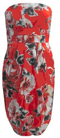 Red Floral Cotton Strapless Dress S12
